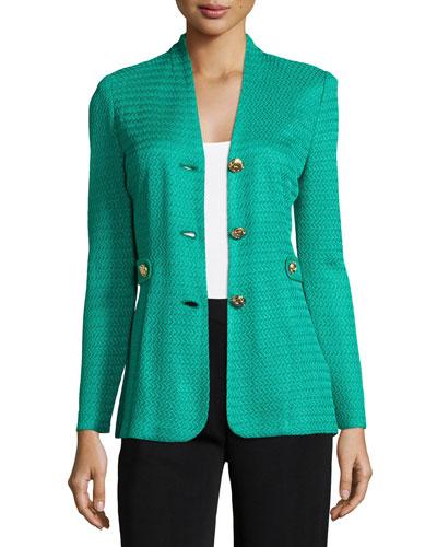 Textured Gold-Button Jacket, Jade, Petite