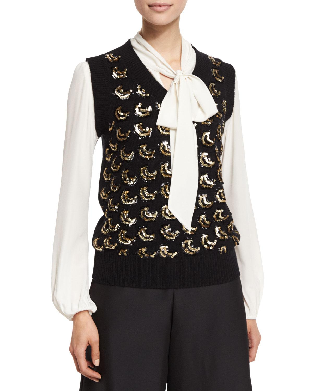 Sequined V-Neck Sweater Vest, Black/Gold
