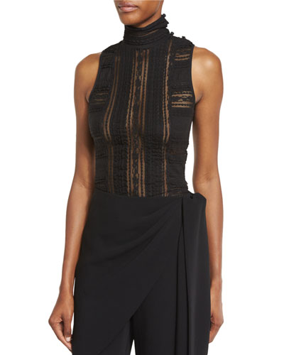 Antonia Sleeveless Turtleneck Lace Top, Black