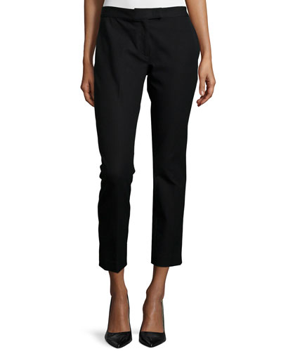 Gabardine Stretch Ankle Pants, Black