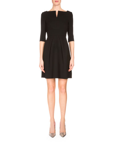 Stanhope Split-Neck Party Dress, Black