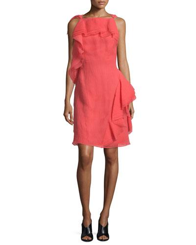 Sleeveless Ruffled Organza Dress, Berry