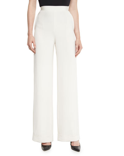 Cuffed Wide-Leg Silk Crepe Pants, White