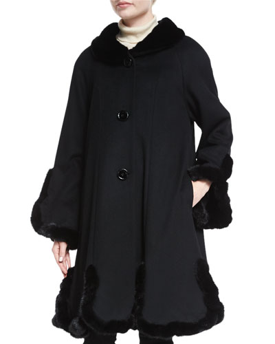 Cashmere A-line Coat with Mink Trim