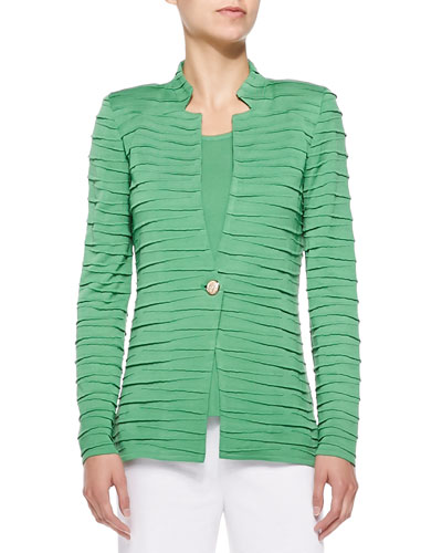 Sliced One-Button Jacket, Green, Plus Size