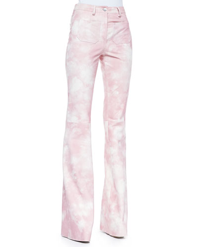 Tie-Dye Leather Bell-Bottom Pants, Oleander