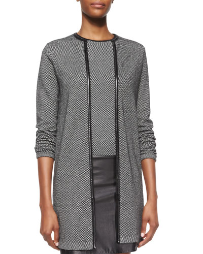 Cashmere Open-Front Long Cardigan