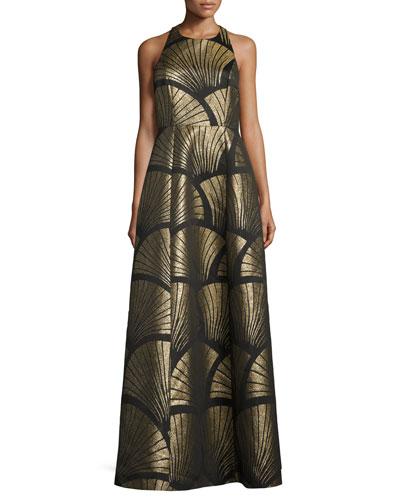 Sleeveless Metallic Scallop Racerback Gown, Black/Gold