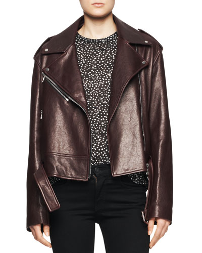 Shiny Leather Moto Jacket
