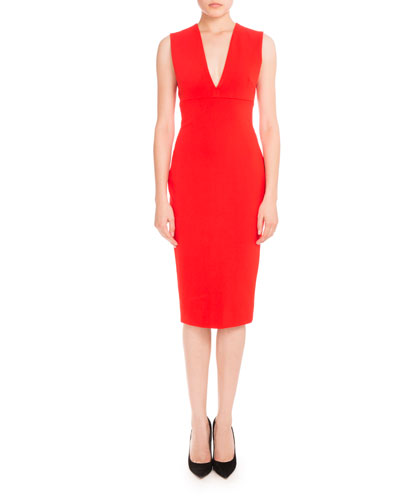 Sleeveless V-Neck Sheath Dress, Crimson
