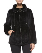 Belle Fare Knitted Mink Fur Bomber Jacket