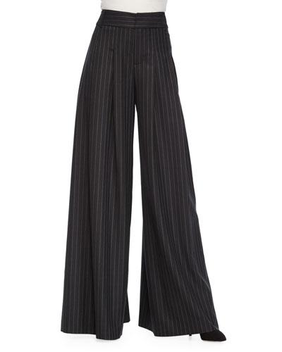 Pinstripe Wide-Leg Flutter Pants, Black