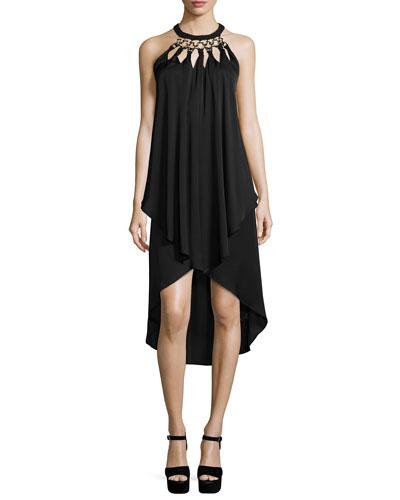 Kyara Jersey High-Low Halter Dress