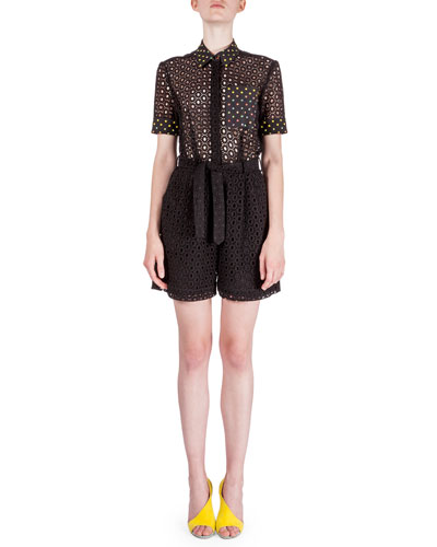 Short-Sleeve Broderie Anglaise Playsuit, Black