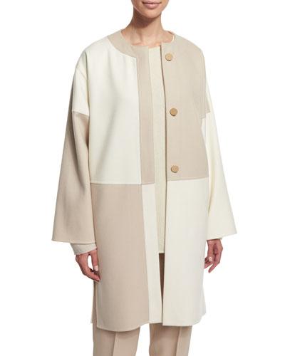 Long-Sleeve Button-Front Kimono Coat, Ivory/Tan