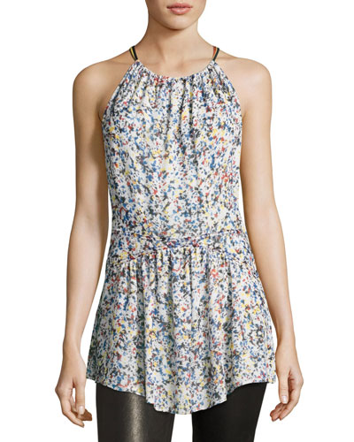 Confetti-Print Silk Georgette Halter Top, White