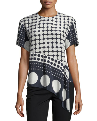 Polka-Dot Silk Asymmetric T-Shirt, Multicolor