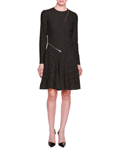 Long-Sleeve Lace Dress w/Zip Trim