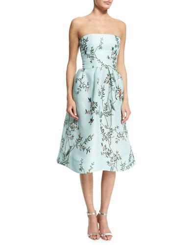Strapless Bird-Print Fit-&-Flare Dress, Seafoam