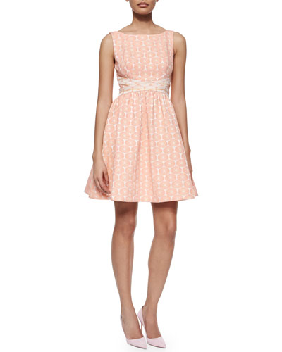 Edie Floral Fit & Flare Dress, Melon