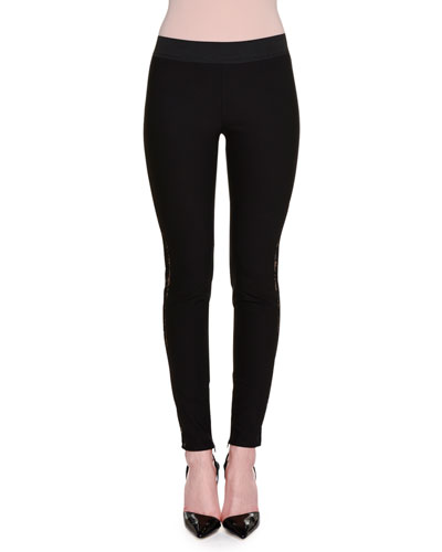 Stretch-Knit Leggings w/Side Lace Inset, Black