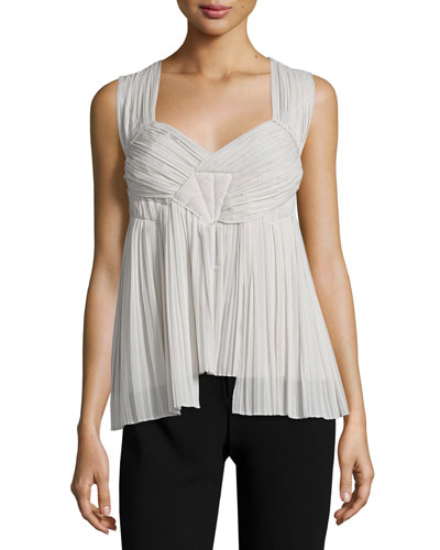 Sleeveless Sweetheart-Neck Plisse Top, Platinum
