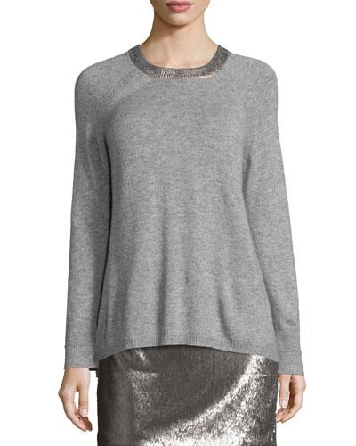 Long-Sleeve Split-Back Crewneck Sweater, Light Gray