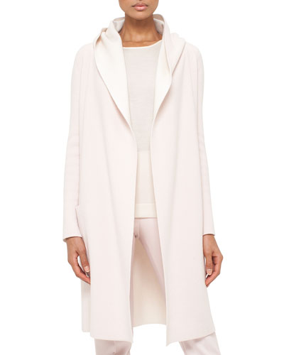 Long Oversized Reversible Cashmere Cardigan Coat, Flamingo/Pelican
