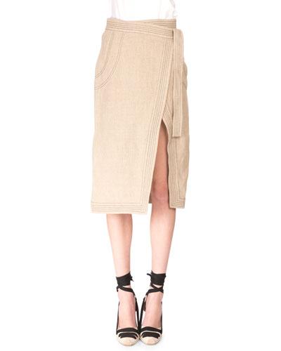 Trapunto-Stitched Linen Wrap Skirt, Burlap