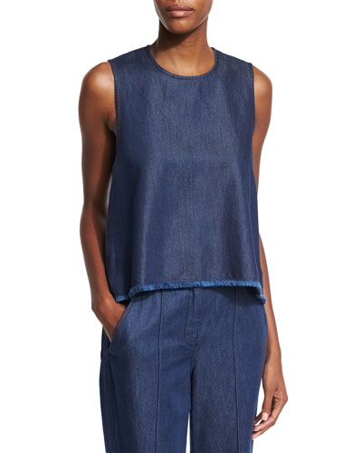 Nina Sleeveless Chambray Top, Indigo