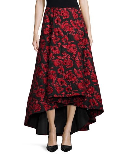 Floral Brocade Tea-Length Skirt