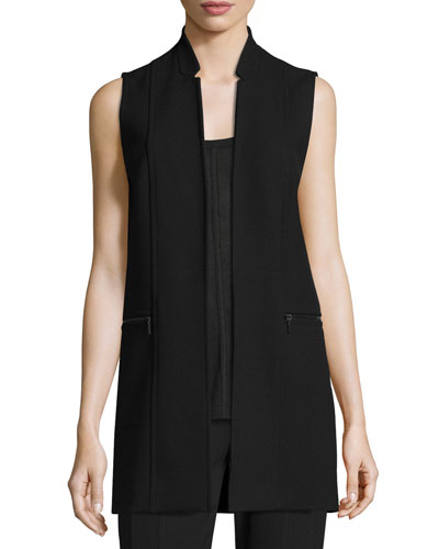 Arlena Long Textured Stretch-Knit Vest