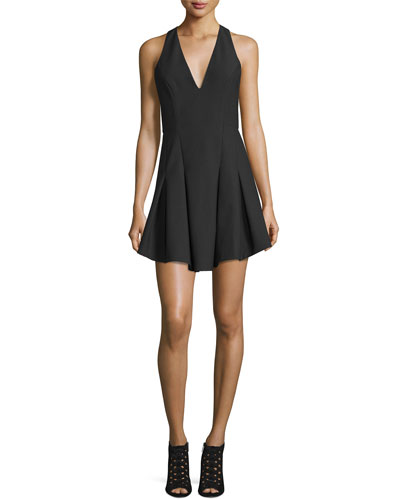 Sabine Sleeveless Crepe Fit-and-Flare Dress, Black