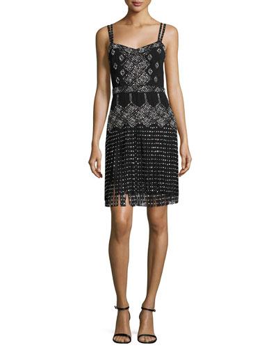 Embellished Sleeveless Dress W/Fringe