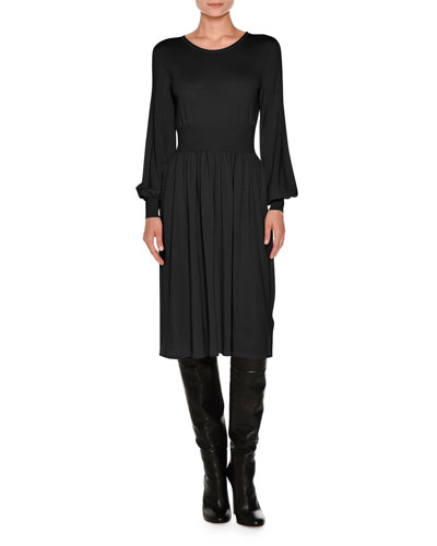 Knit Bell-Sleeve Merino Wool Dress, Black