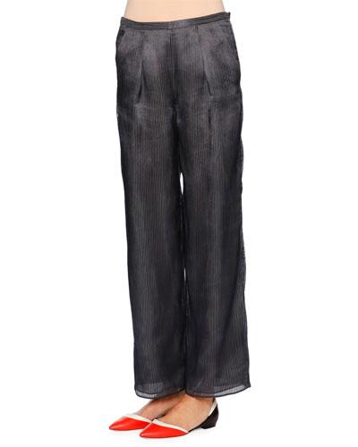 Slim-Leg Ankle Pants, Navy/Light Gray