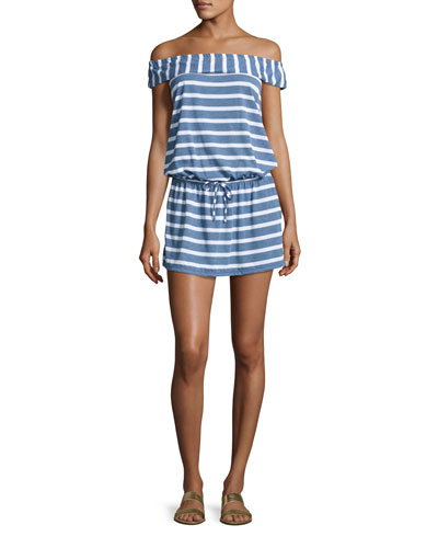 Cottage Off-the-Shoulder Striped Chambray Coverup Dress
