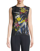Floral-Print Silk Shell Top
