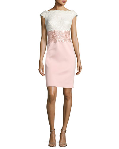 Cap-Sleeve Lace Sequined-Waist Combo Cocktail Dress