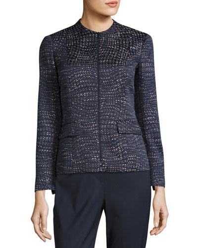 Jaylan Seacliff Novelty Zip-Front Jacket, Multi Pattern, Plus Size