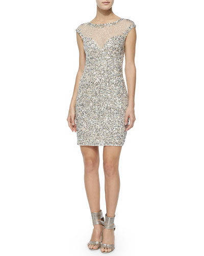 Montclair Cap-Sleeve Beaded Cocktail Dress
