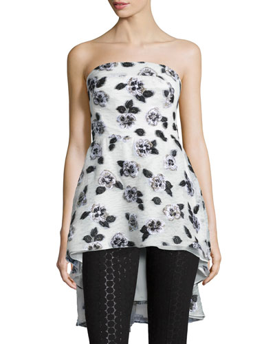 Strapless Floral-Embroidered Top, Ivory/Black