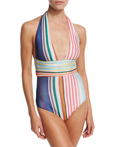Striped Halter One-Piece Swimsuit, Multicolor