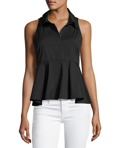 Mikala Sleeveless Stretch-Poplin Peplum Top, Black