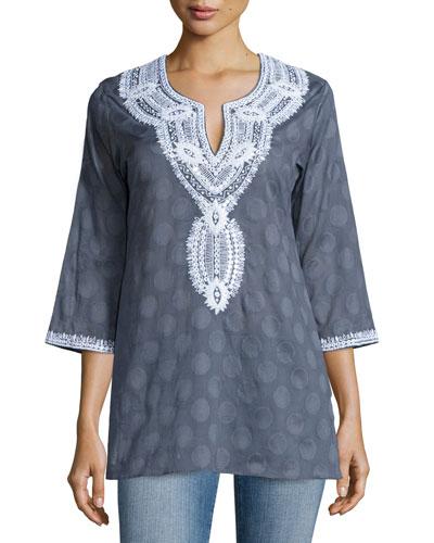 Aria Embroidered Cotton Tunic