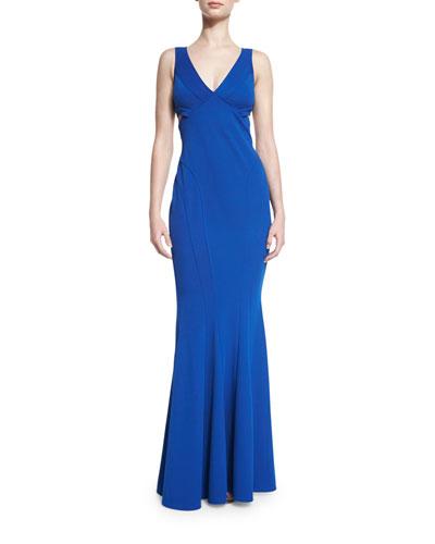 Sleeveless Evening Gown, Cobalt