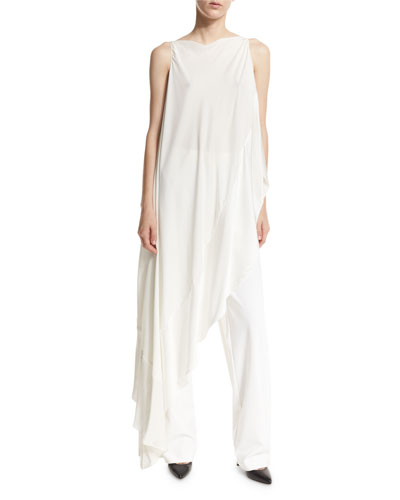 Asymmetric Boat-Neck Sleeveless Top, Ivory