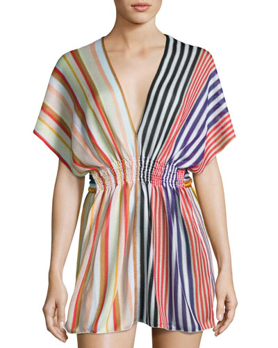 Striped Knit Beach Dress, Multi