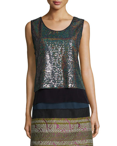 Crepe-Trimmed Allover Sequin Top