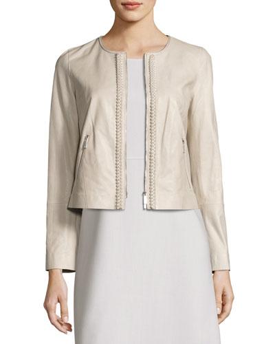 Benton Lightweight Lambskin Jacket, Taupe, Plus Size